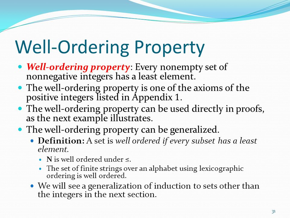 Well-Ordering Property