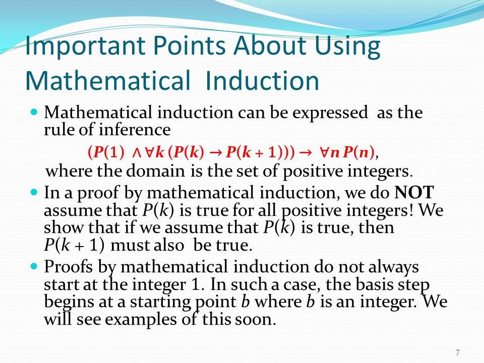 Important Points About Using Mathematical Induction