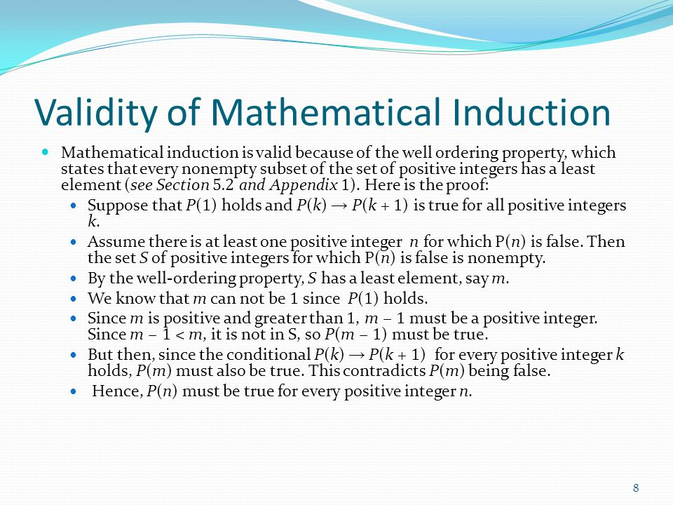 Validity of Mathematical Induction