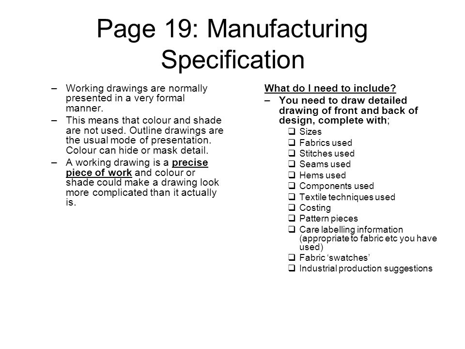 Gcse textiles coursework manufacturing specification