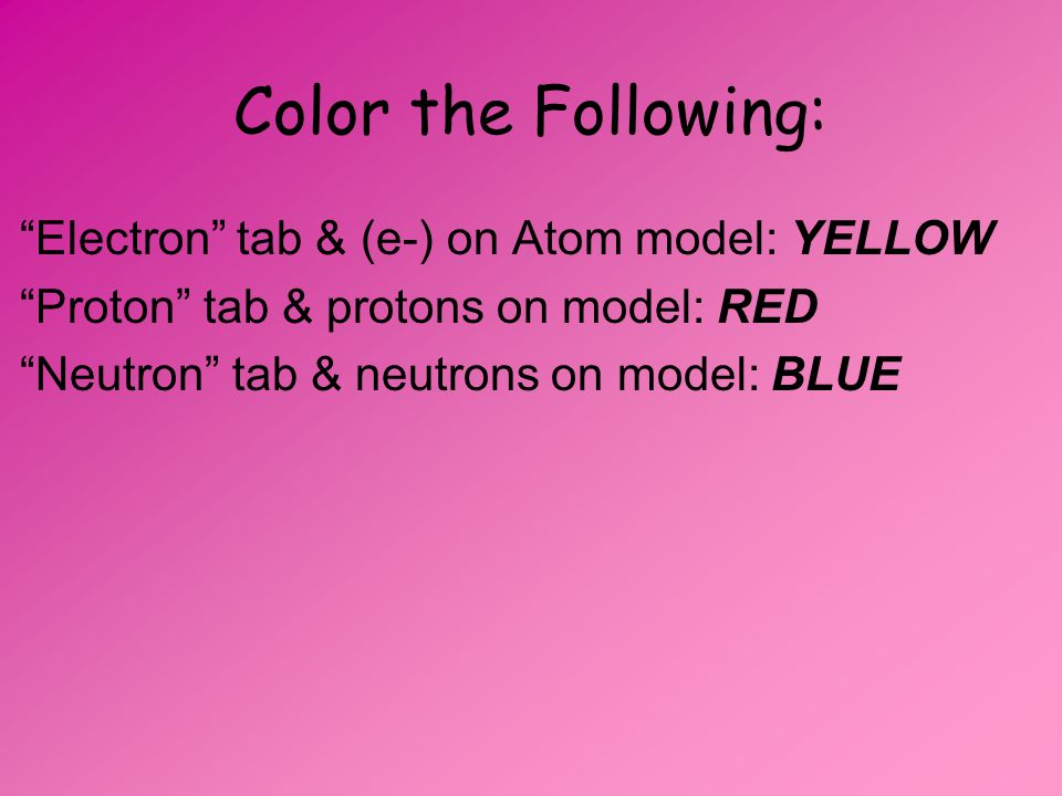 Color the Following: Electron tab & (e-) on Atom model: YELLOW