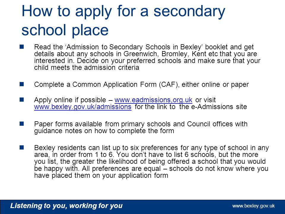 How To Apply For A Secondary School Place  Admission Forms For Schools