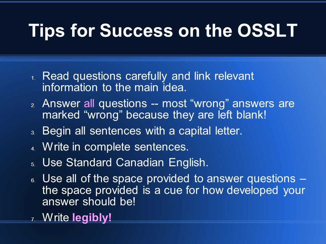 test of reading and writing skills osslt essay A passing score on the test of critical reading and writing skills (crws) is required to register for several courses if a course requires this test, it is noted in the prerequisites of the course description.
