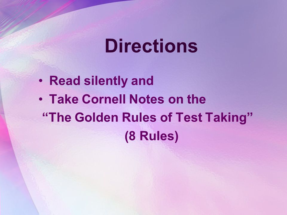 Directions Read silently and Take Cornell Notes on the
