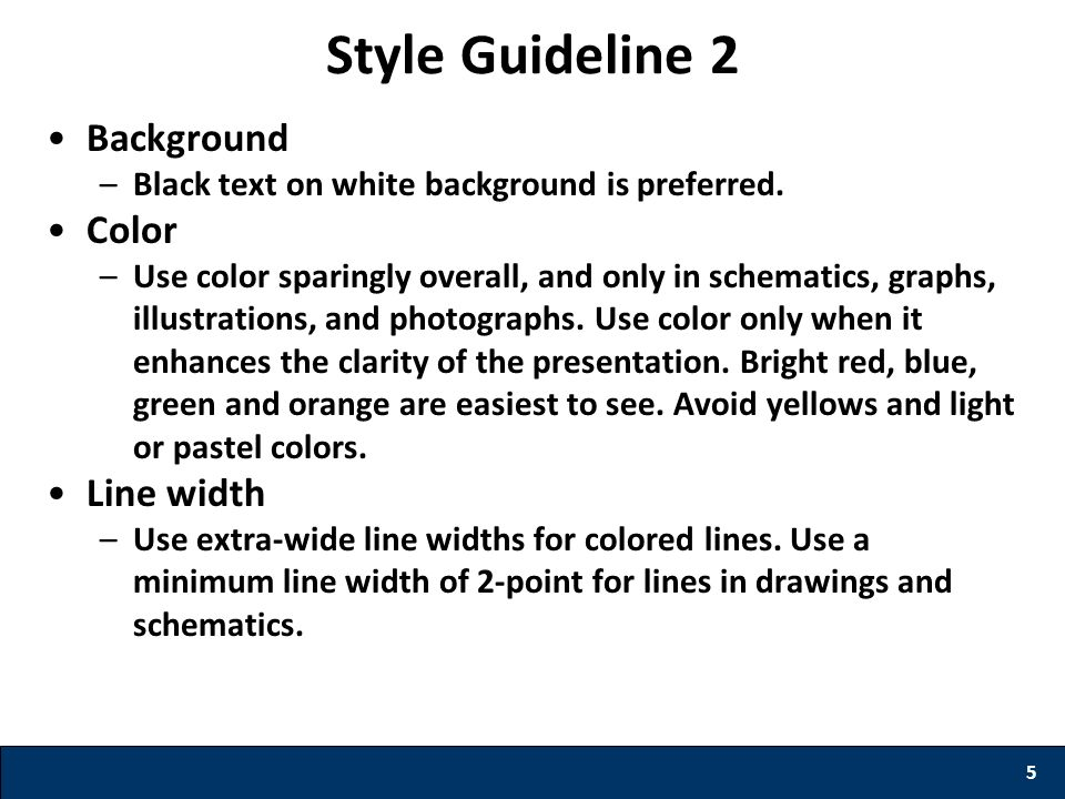 Style Guideline 2 Background Color Line width