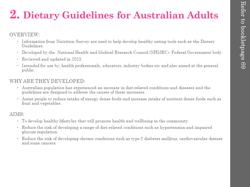 young guidelines Australian adults for dietary