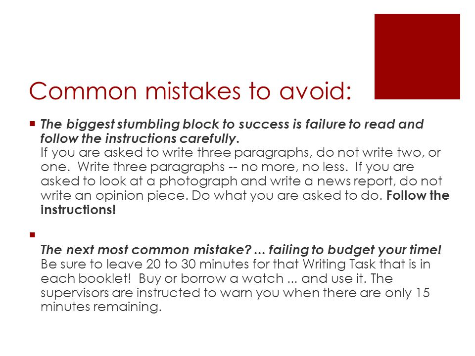 common literary essay writing mistakes to avoid Getting it write: the ten most common business writing mistakes and how to avoid them by freelance writing.