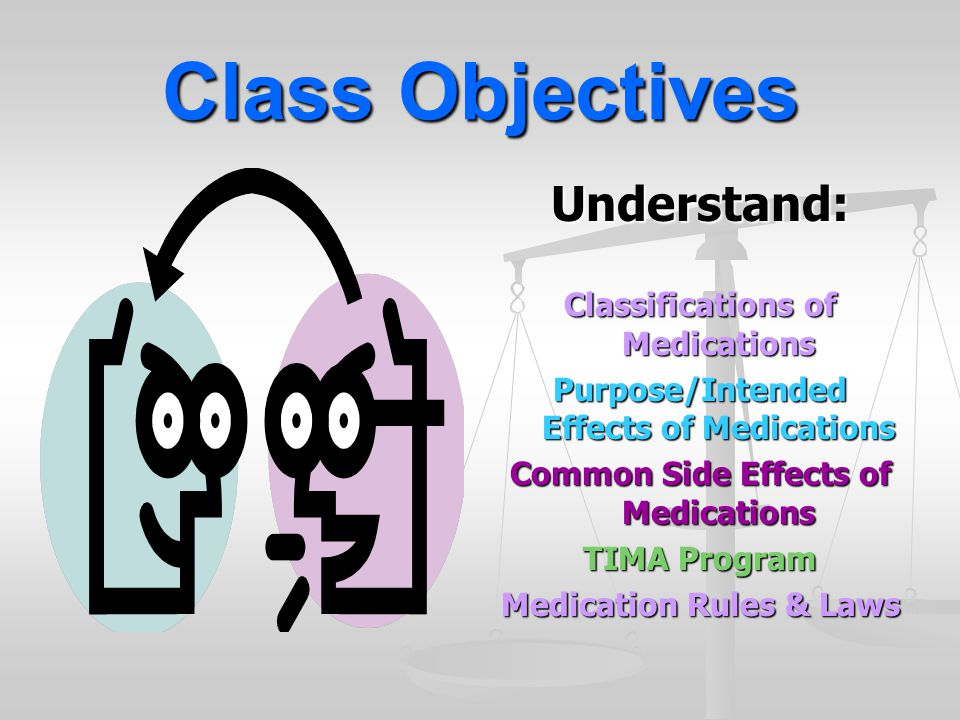 Class Objectives Understand: Classifications of Medications
