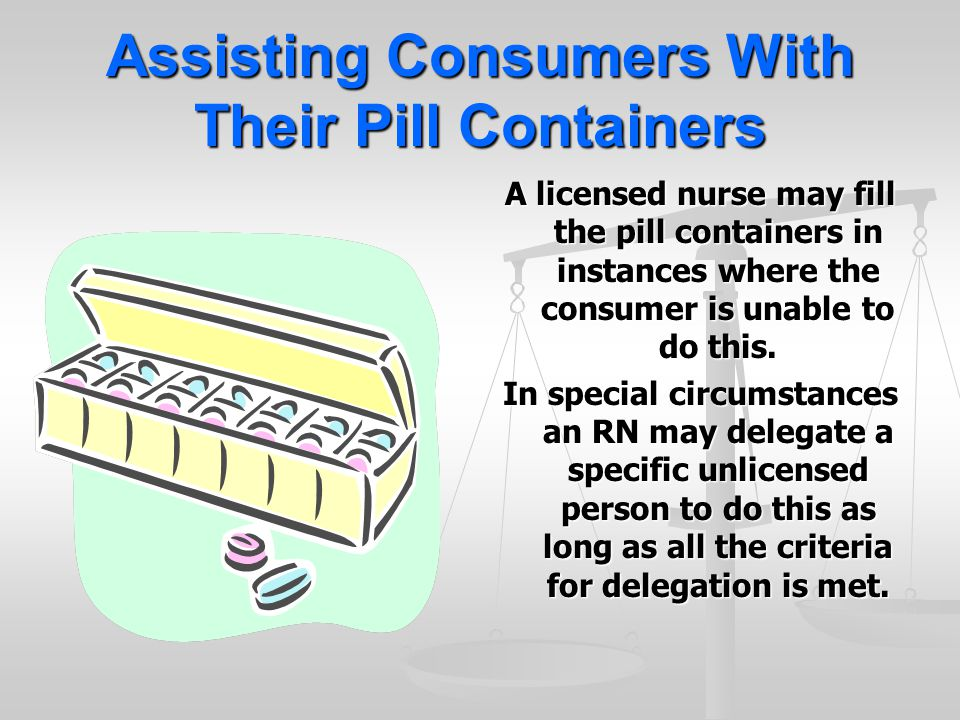 Assisting Consumers With Their Pill Containers