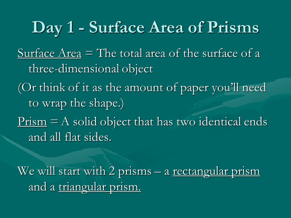 Day 1 - Surface Area of Prisms