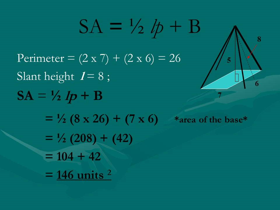 SA = ½ lp + B = ½ (8 x 26) + (7 x 6) *area of the base* SA = ½ lp + B