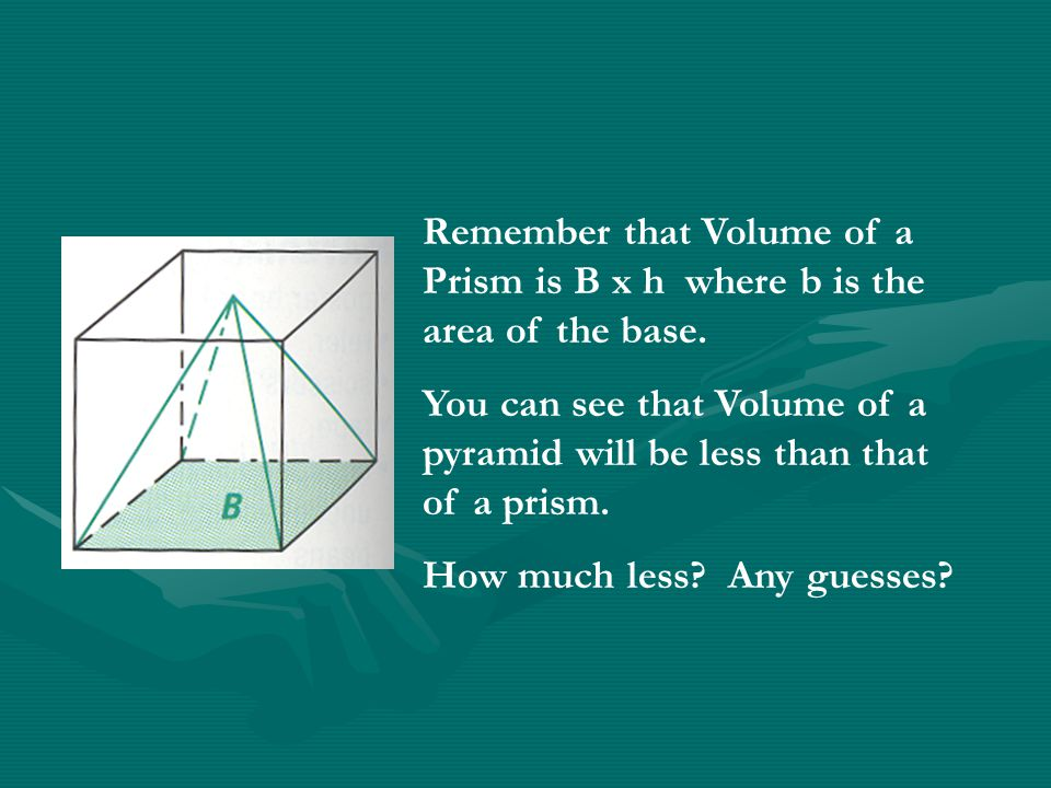 Remember that Volume of a Prism is B x h where b is the area of the base.
