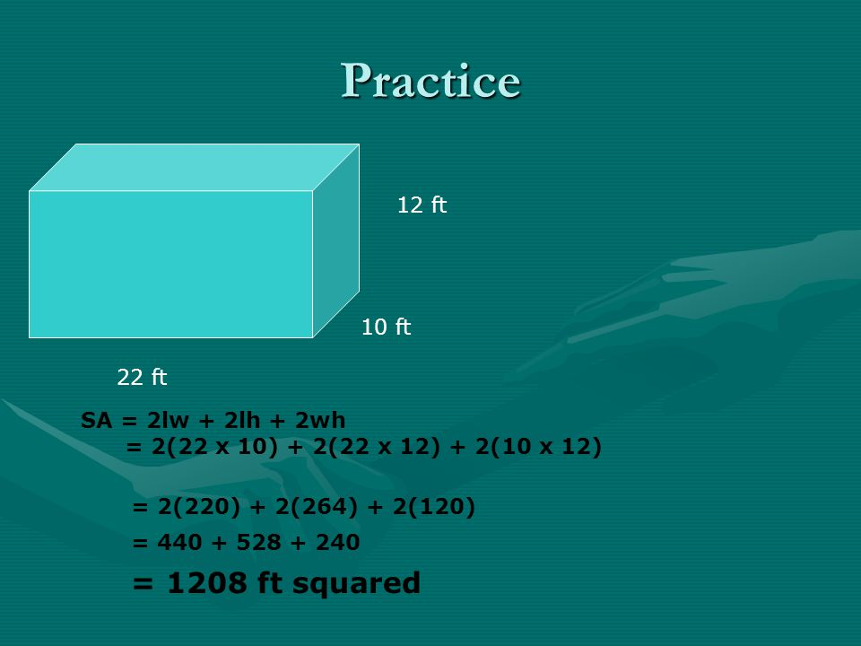 Practice = 1208 ft squared 12 ft 10 ft 22 ft SA = 2lw + 2lh + 2wh