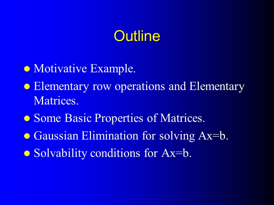 Outline Motivative Example.