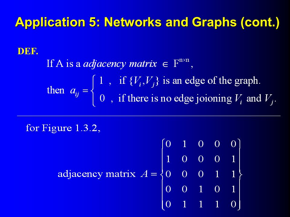 Application 5: Networks and Graphs (cont.)