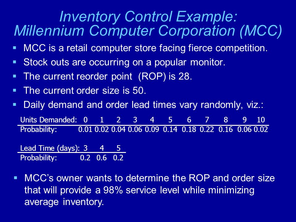 Inventory Control Example: Millennium Computer Corporation (MCC)