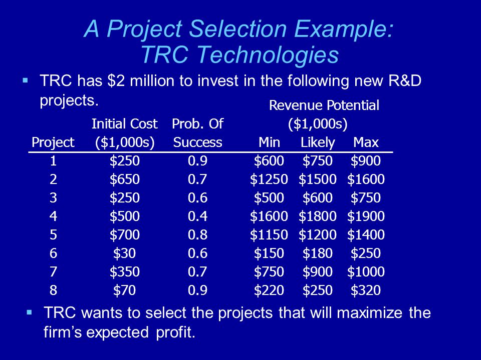A Project Selection Example: TRC Technologies