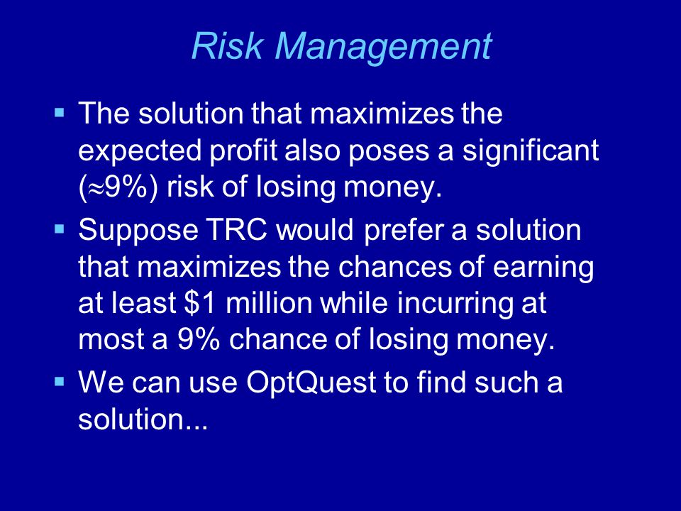 Risk Management The solution that maximizes the expected profit also poses a significant (9%) risk of losing money.