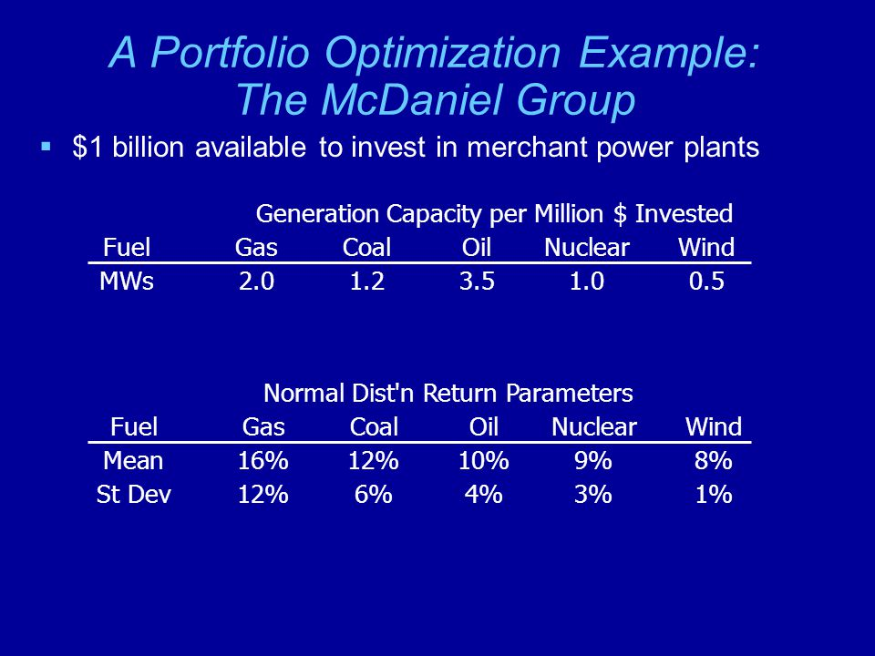 A Portfolio Optimization Example: The McDaniel Group