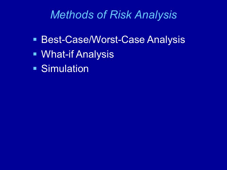 Methods of Risk Analysis