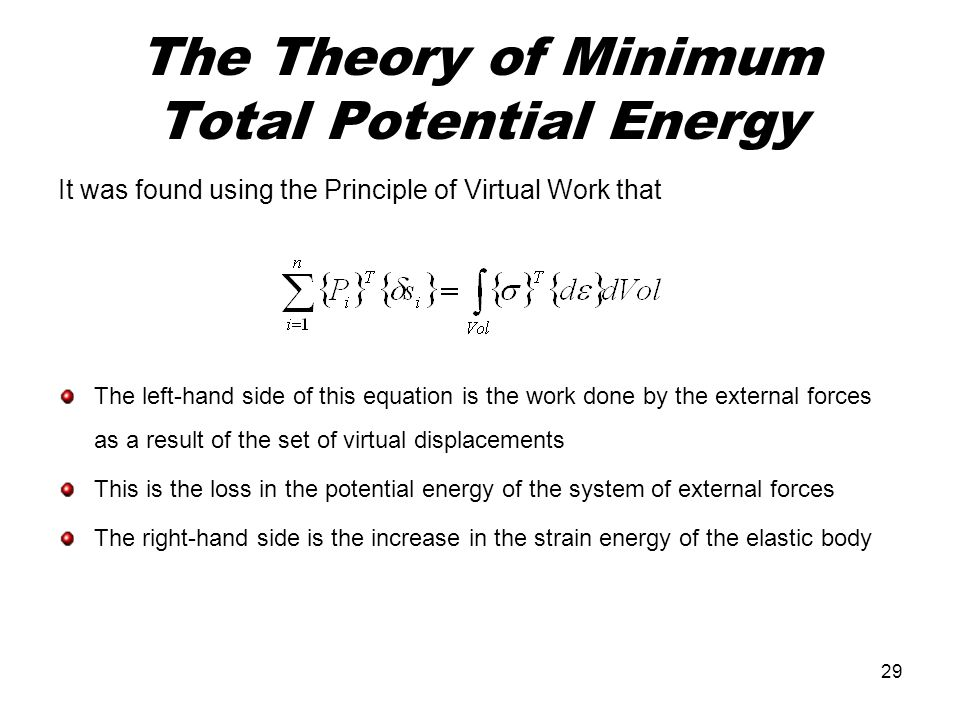 The Theory of Minimum Total Potential Energy