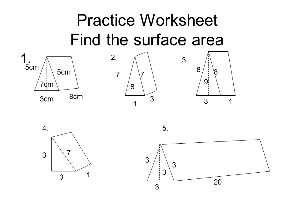 Lesson Plan Objective SWBAT find the surface area of a triangular – Surface Area Worksheets