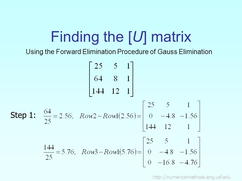 Using the Forward Elimination Procedure of Gauss Elimination