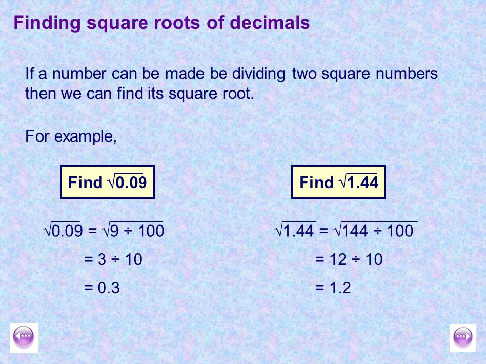 how to find the square root of a decimal