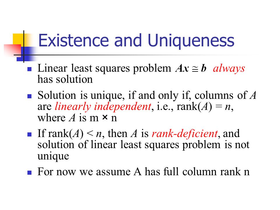 the rank of a matrix and existence of a unique solution to an equations system Let ax = b be a system of linear equations this system of  if mx=0 is a homogeneous system of linear equations,  but if matrix has a unique solution.