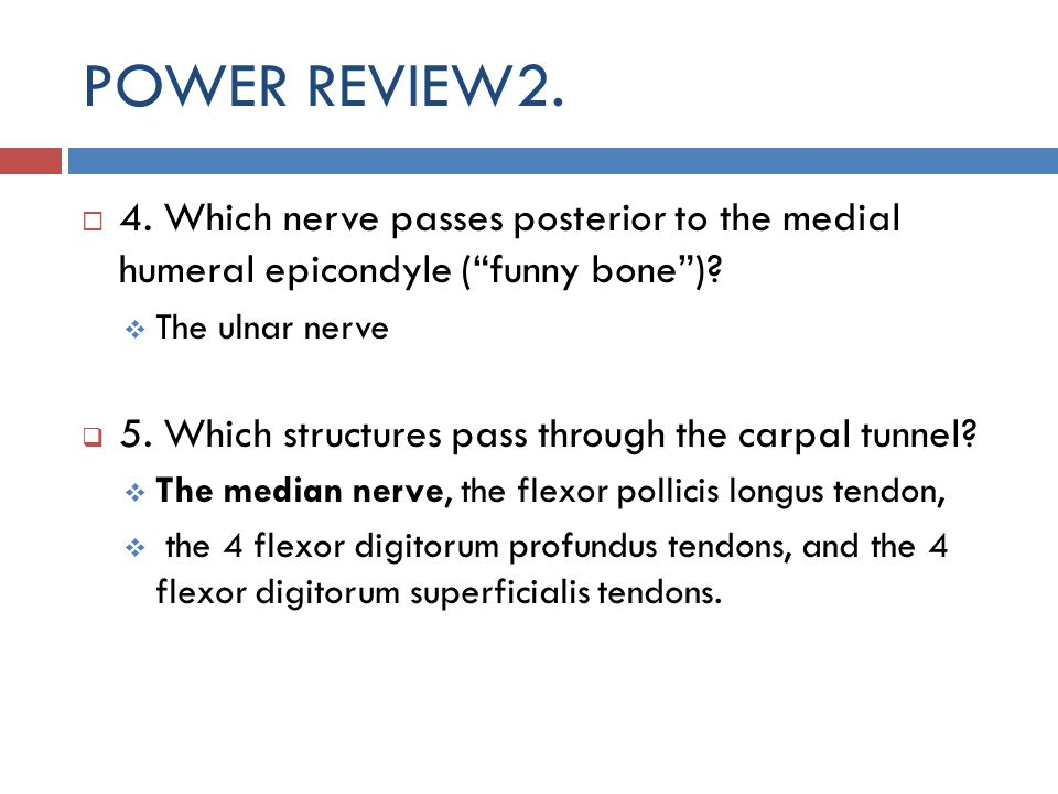 POWER REVIEW2. 4. Which nerve passes posterior to the medial humeral epicondyle ( funny bone ) The ulnar nerve.