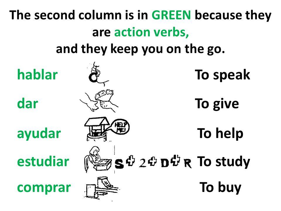hablar To speak dar To give ayudar To help estudiar To study comprar