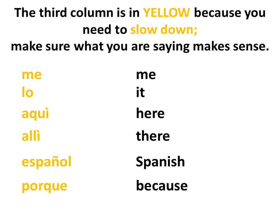 me me lo it aquì here allì there español Spanish porque because