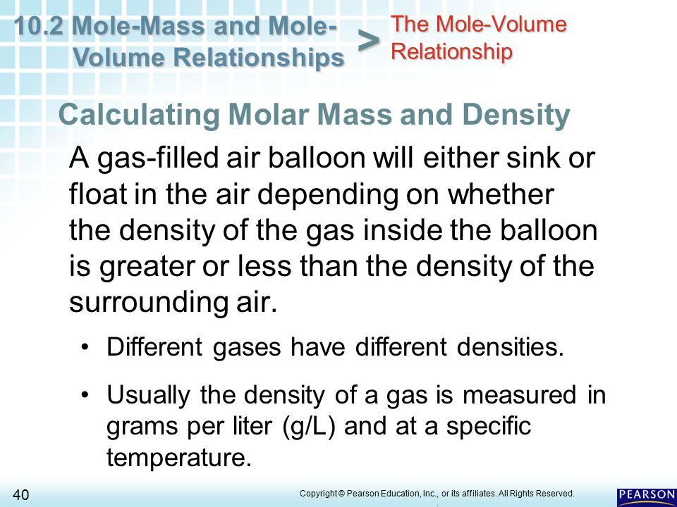calculate mass based on volume and density relationship