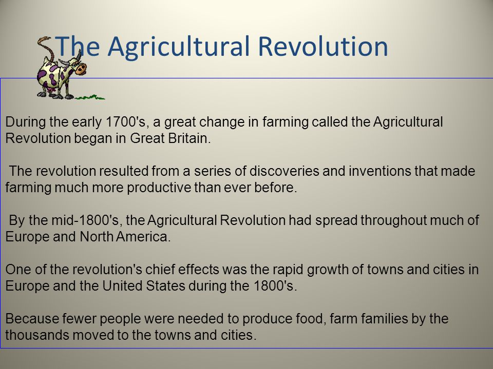 "an agricultural revolution in america Advances in agricultural techniques and practices  blue jeans are often referred to as ""america's  james watt and the industrial revolution,."