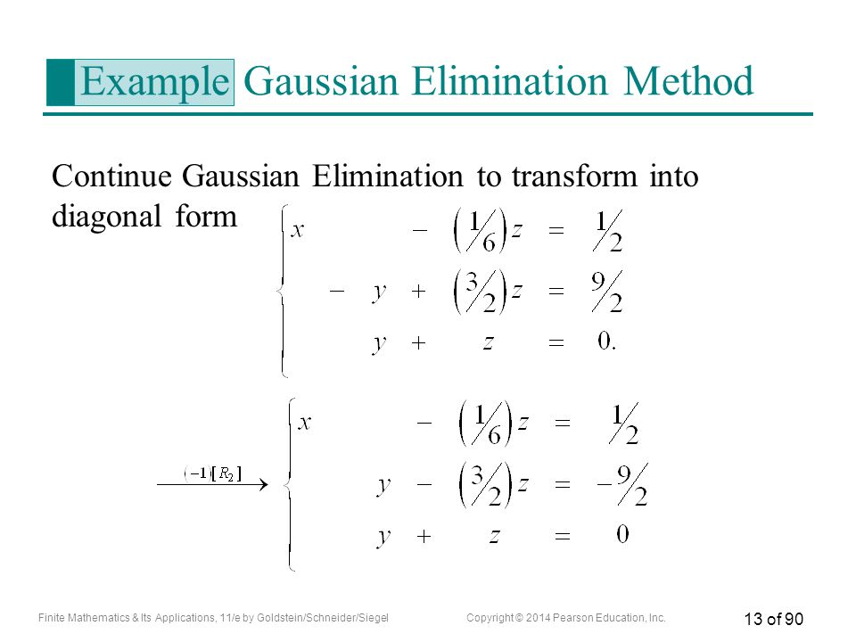 Example Gaussian Elimination Method