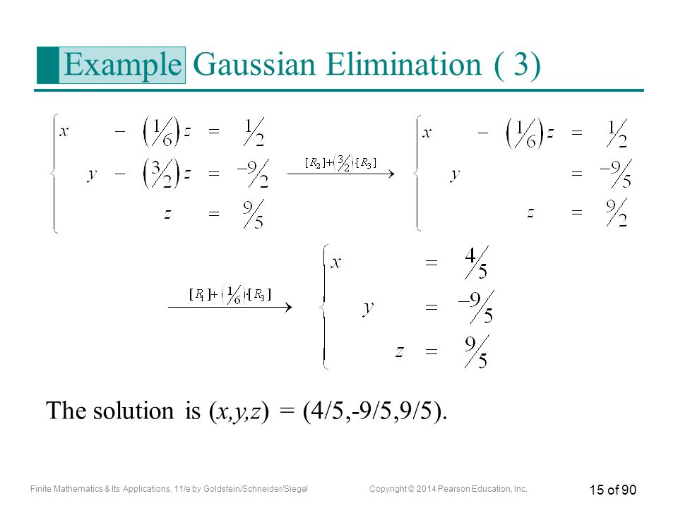 Example Gaussian Elimination ( 3)