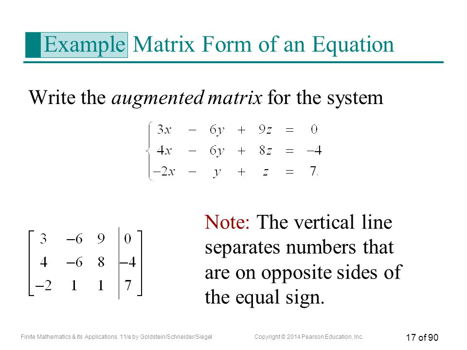 Example Matrix Form of an Equation