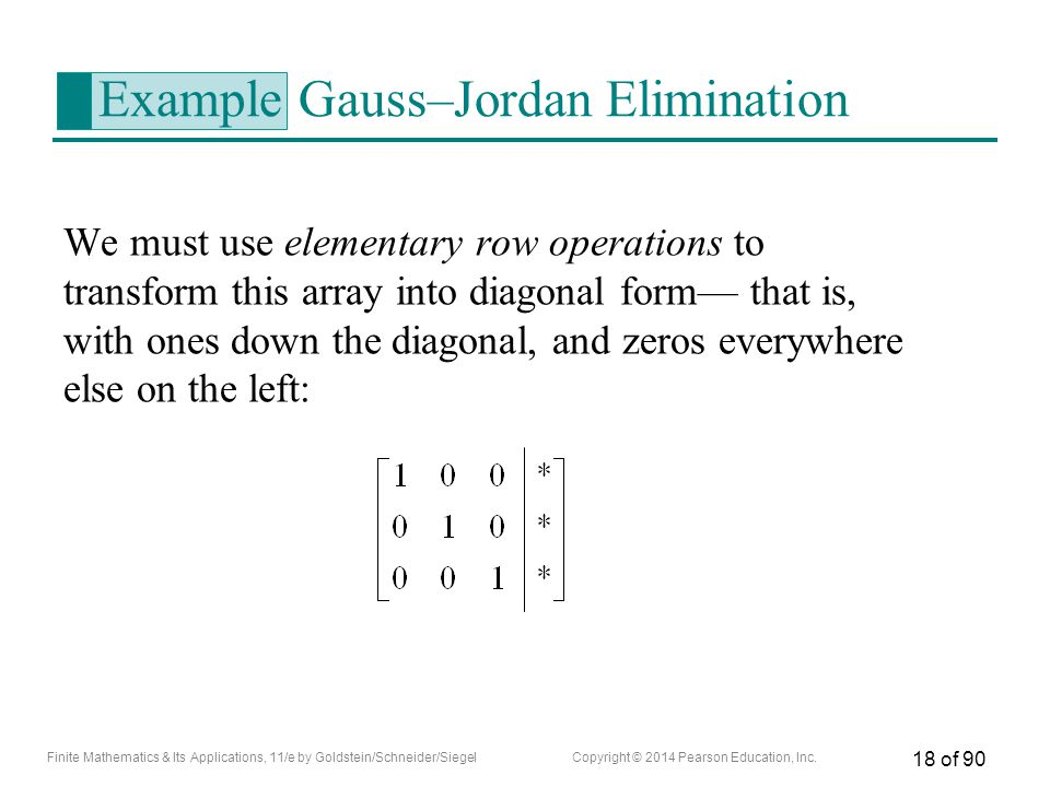 Example Gauss–Jordan Elimination
