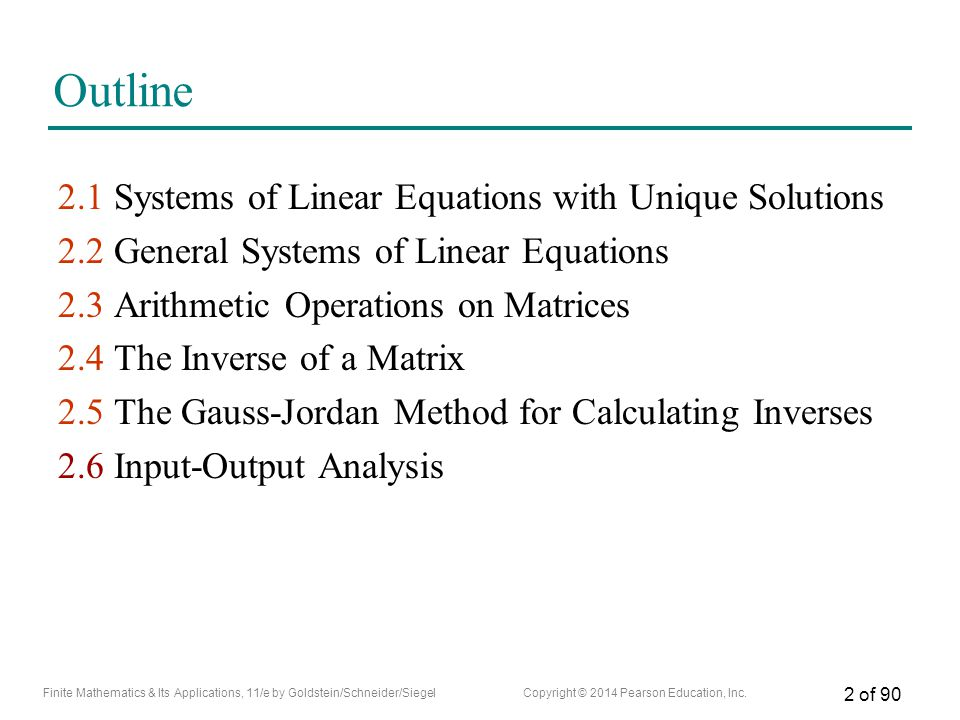 Outline 2.1 Systems of Linear Equations with Unique Solutions