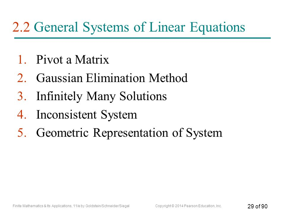 2.2 General Systems of Linear Equations