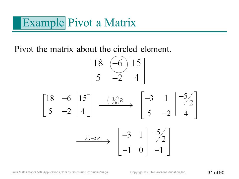 Example Pivot a Matrix Pivot the matrix about the circled element.