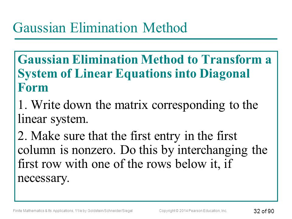 Gaussian Elimination Method