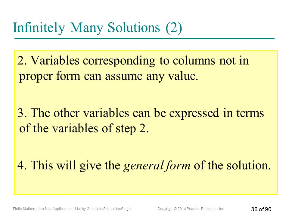 Infinitely Many Solutions (2)