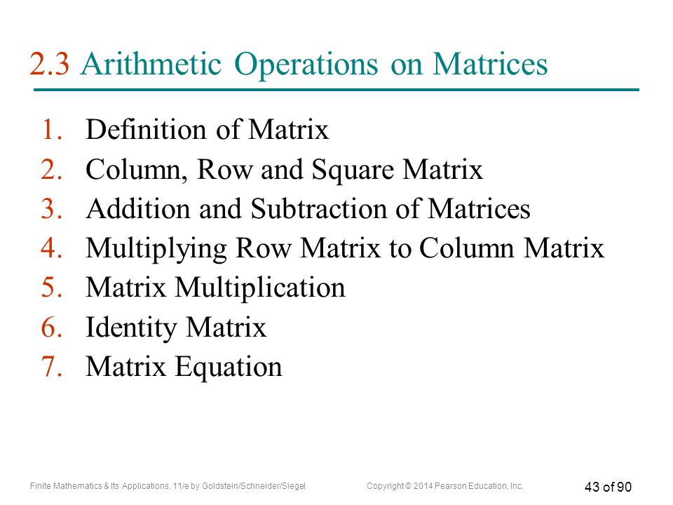 2.3 Arithmetic Operations on Matrices