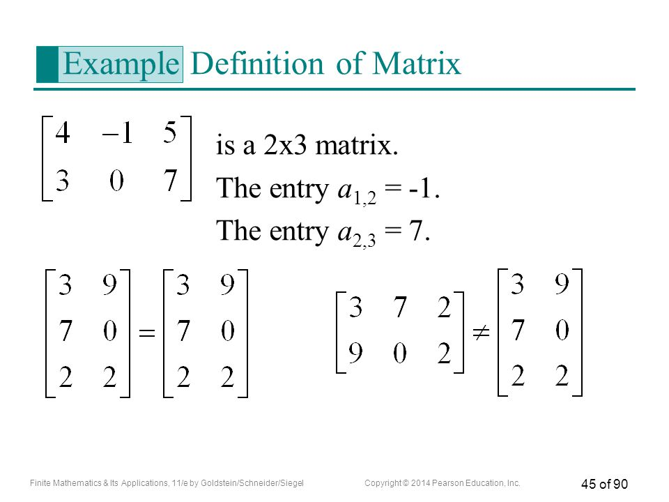 Example Definition of Matrix