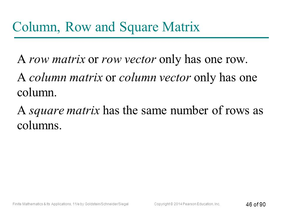 Column, Row and Square Matrix