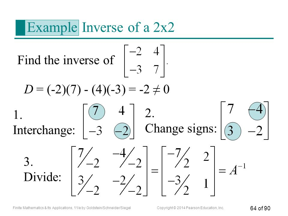 Example Inverse of a 2x2 Find the inverse of