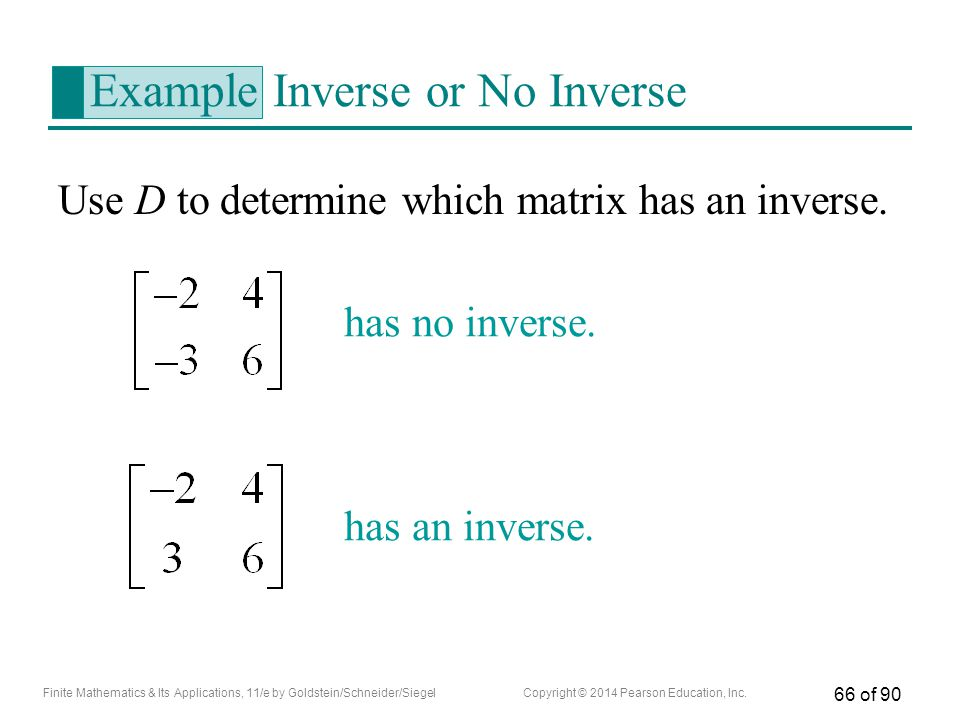 Example Inverse or No Inverse