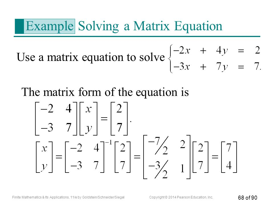 Example Solving a Matrix Equation