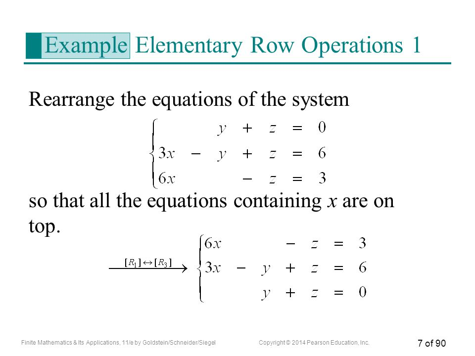Example Elementary Row Operations 1